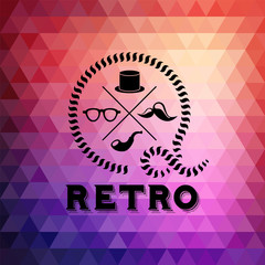 Hipster theme label background made of triangles