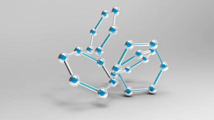 Kohlenstoffmoleküle mit blauen kernen