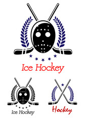 Ice hockey symbols set