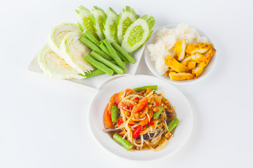 Papaya salad (som tum Thai) with sticky rice and grilled chicken