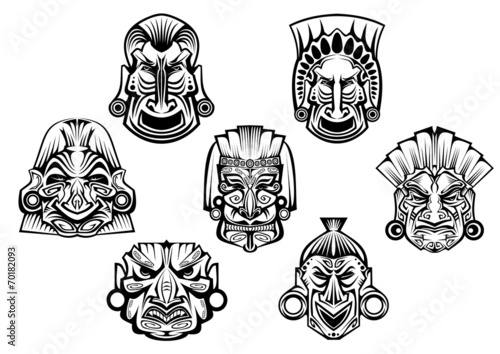 Ancient tribal religious masks - 70182093