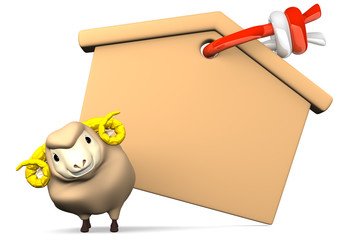Blank Votive Picture And Smile Sheep