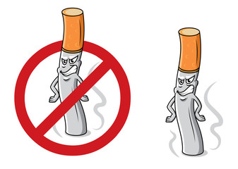 Cartoon angry cigarette with stop sign