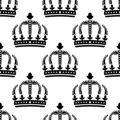 Seamless pattern of vintage royal crowns