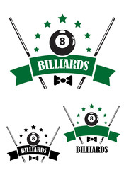 Retro style emblem of snooker
