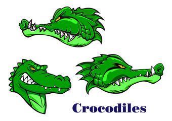 Cartoon crocodile and alligators characters