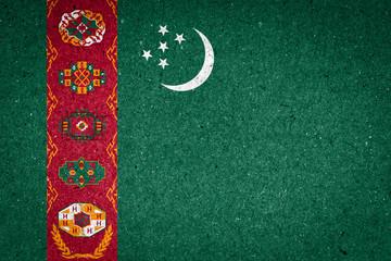 Turkmenistan flag on paper background