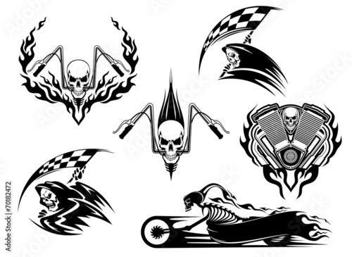 Fototapeta Death road accident and racing characters