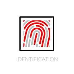 Fingerprint identification system, black symbol with red strip