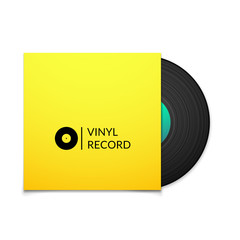 Black vintage vinyl record with blank yellow cover case isolated