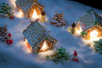 Small gingerbread village built from sweetness