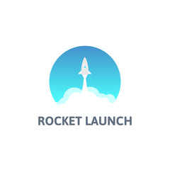 Gray rocket and white cloud, circle icon in flat style, vector
