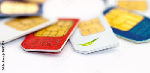 Set of color SIM cards isolated on white background - 70182652