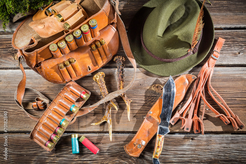 Bag with bullets in a hunting lodge - 70182840