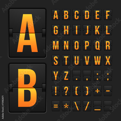 Scoreboard letters and symbols alphabet panel - 70182871
