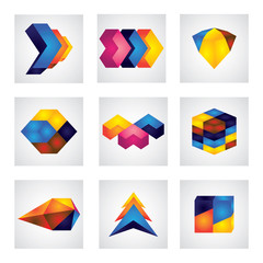 abstract 3d squares, arrows & cube element design vector icons.