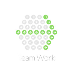 Team work flat design vector illustration concept