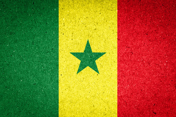 Senegal flag on paper background