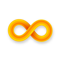 Orange infinity symbol icon from glossy wire with shadow