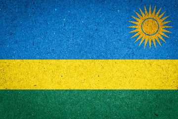 Rwanda flag on paper background