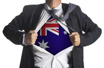 Australian flag with businessman showing a superhero suit