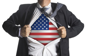 American flag with businessman showing a superhero suit
