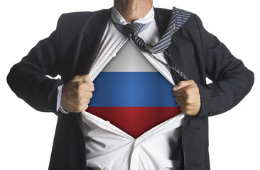 Russia Flag with businessman showing a superhero suit