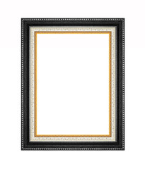 Black picture frame isolated on white background.