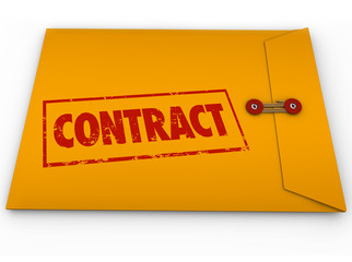 Contract Stamped Word Yellow Envelope Official Papers Deal Docum
