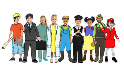Diverse Children with Various Occupations Concept