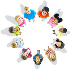 Multiethnic Group of Kids looking up