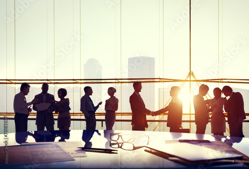 canvas print picture Silhouettes of Business People Working