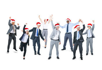 Happy Business People With Santa Hat