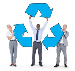 Group of BusinessPeople Holding Recycle Symbol