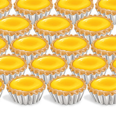 A illustration of hong kong style food egg tarts