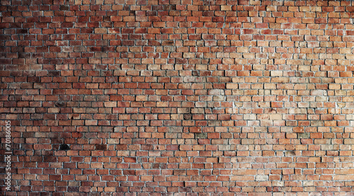 Leinwanddruck Bild Empty Red Brick Wall Background
