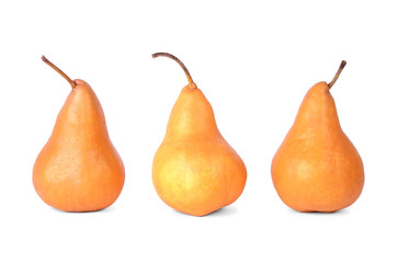 Three pears isolated on a white