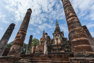 Sukhothai historical park under blue sky