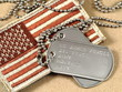 Leinwanddruck Bild - Military dog tags and camoflage flag