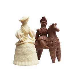 Chocolate figurines - lady and hussar on horseback