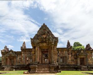 Khmer ruin under blue sky