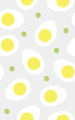 Seamless pattern of boiled eggs and green peas
