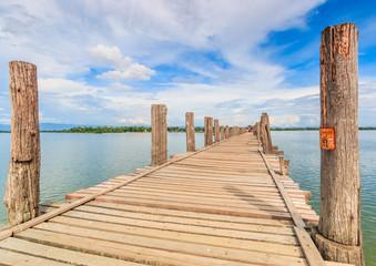 U bein bridge at Taungthaman lake  in Amarapura, Myanmar