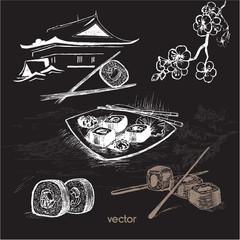 Sushi illustration. Sketch background