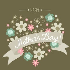 turkus brąz kwiaty kropki serce Dzień Matki na ciemnym tle