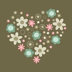 róż turkus brąz kwiaty i kropki serce ilustracja na ciemnym tle