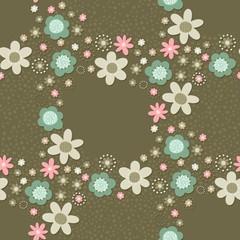 róż turkus brąz kwiaty i kropki deseń wieniec na ciemnym tle