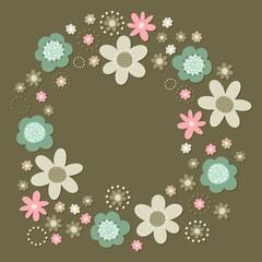 róż turkus brąz kwiaty i kropki wieniec na ciemnym tle