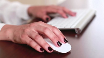 Businesswoman Office Working Mouse and Keyboard