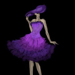 donna con abito viola di chiffon